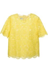 T-shirt à col rond en dentelle jaune Valentino