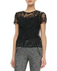 T-shirt à col rond en dentelle noir
