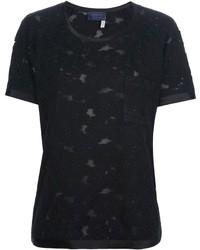 T-shirt à col rond en dentelle noir Lanvin