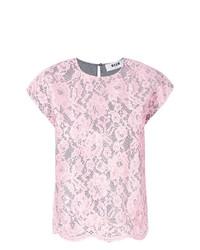 T-shirt à col rond en dentelle rose MSGM