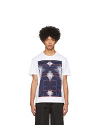 T-shirt à col rond en soie imprimé blanc et bleu marine Craig Green