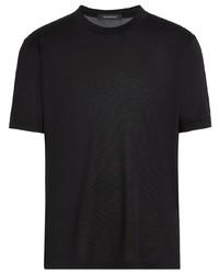 T-shirt à col rond en soie noir Ermenegildo Zegna