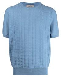 T-shirt à col rond en tricot bleu clair Canali