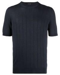 T-shirt à col rond en tricot bleu marine Tagliatore