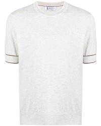 T-shirt à col rond en tricot gris Brunello Cucinelli