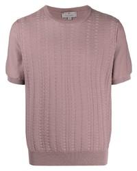 T-shirt à col rond en tricot rose Canali