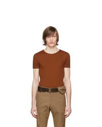 T-shirt à col rond en tricot tabac Dries Van Noten