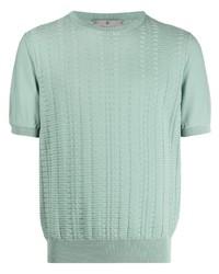 T-shirt à col rond en tricot vert menthe Canali