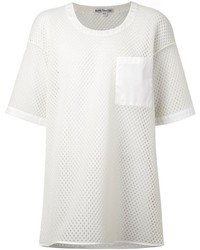 T-shirt à col rond en tulle blanc Acne Studios