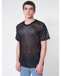 T-shirt à col rond en tulle noir