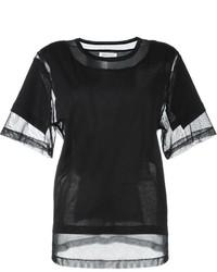 T-shirt à col rond en tulle noir Maison Margiela
