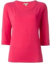 T-shirt à col rond fuchsia Burberry
