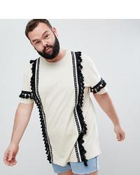 T-shirt à col rond géométrique beige ASOS DESIGN
