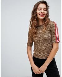 T-shirt à col rond géométrique marron Bershka
