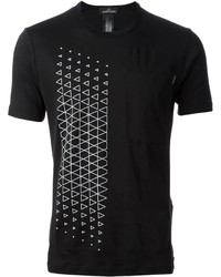 T-shirt à col rond géométrique noir et blanc
