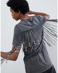 T-shirt à col rond gris foncé ASOS DESIGN