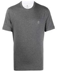 T-shirt à col rond gris foncé Brunello Cucinelli