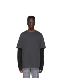 T-shirt à col rond gris foncé Juun.J