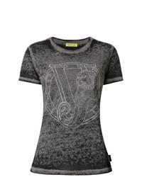 T-shirt à col rond gris foncé Versace Jeans