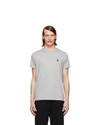 T-shirt à col rond gris Burberry