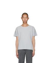 T-shirt à col rond gris Homme Plissé Issey Miyake