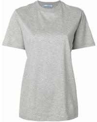 T-shirt à col rond gris Prada