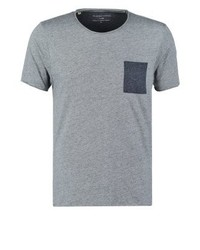 T-shirt à col rond gris Selected Homme