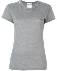T-shirt à col rond gris Valentino