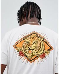 T-shirt à col rond imprimé beige ASOS DESIGN