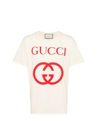 T-shirt à col rond imprimé beige Gucci