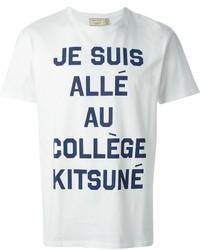 T-shirt à col rond imprimé blanc et bleu marine
