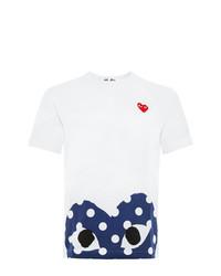 T-shirt à col rond imprimé blanc et bleu marine Comme Des Garcons Play
