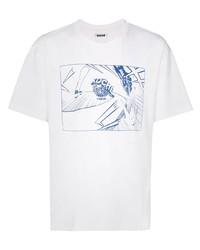 T-shirt à col rond imprimé blanc et bleu marine Koché