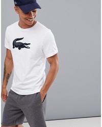 T-shirt à col rond imprimé blanc et bleu marine Lacoste Sport