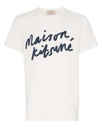 T-shirt à col rond imprimé blanc et bleu marine MAISON KITSUNÉ