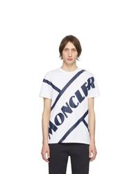 T-shirt à col rond imprimé blanc et bleu marine Moncler