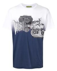 T-shirt à col rond imprimé blanc et bleu marine VERSACE JEANS COUTURE