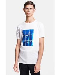 T-shirt à col rond imprimé blanc et bleu