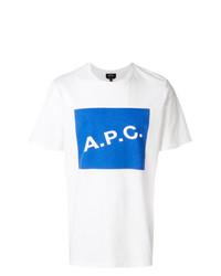 T-shirt à col rond imprimé blanc et bleu A.P.C.