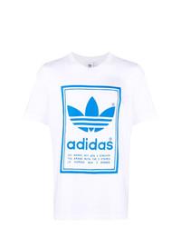 T-shirt à col rond imprimé blanc et bleu adidas
