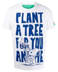 T-shirt à col rond imprimé blanc et bleu Benetton