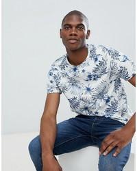 T-shirt à col rond imprimé blanc et bleu Burton Menswear