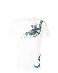 T-shirt à col rond imprimé blanc et bleu Givenchy