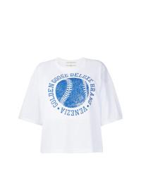 T-shirt à col rond imprimé blanc et bleu Golden Goose Deluxe Brand