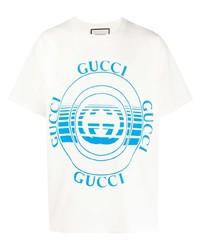 T-shirt à col rond imprimé blanc et bleu Gucci