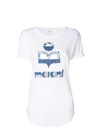 T-shirt à col rond imprimé blanc et bleu Isabel Marant Etoile
