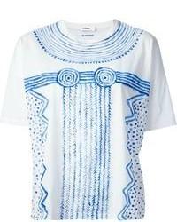 T-shirt à col rond imprimé blanc et bleu Jil Sander