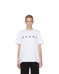 T-shirt à col rond imprimé blanc et bleu Marni