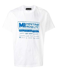 T-shirt à col rond imprimé blanc et bleu Martine Rose