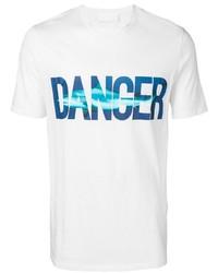 T-shirt à col rond imprimé blanc et bleu Neil Barrett